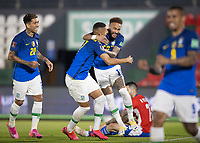 8th June 2021; Defensores del Chaco Stadium, Asuncion, Paraguay; World Cup 2022 qualifiers; Paraguay versus Brazil;  Neymar of Brazil celebrates his goal with Roberto Firmino and Richarlison in the 4th minute 0-1