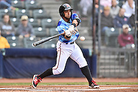 Richmond Flying Squirrels second baseman Ali Castillo (7) swings at a pitch during a game against the Hartford Yard Goats at The Diamond on April 30, 2016 in Richmond, Virginia. The Yard Goats defeated the Flying Squirrels 5-1. (Tony Farlow/Four Seam Images)