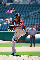 Arcenio Leon (29) of the Nashville Sounds delivers a pitch to the plate against the Salt Lake Bees in Pacific Coast League action at Smith's Ballpark on June 22, 2014 in Salt Lake City, Utah.  (Stephen Smith/Four Seam Images)