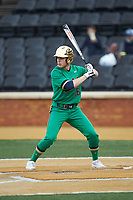 Jared Miller (16) of the Notre Dame Fighting Irish at bat against the Wake Forest Demon Deacons at David F. Couch Ballpark on March 10, 2019 in  Winston-Salem, North Carolina. The Fighting Irish defeated the Demon Deacons 8-7 in 10 innings in game two of a double-header. (Brian Westerholt/Four Seam Images)