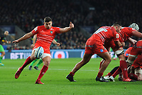 Ben Youngs of Leicester Tigers clears from behind his scrum during Big Game 12 in the Gallagher Premiership Rugby match between Harlequins and Leicester Tigers at Twickenham Stadium on Saturday 28th December 2019 (Photo by Rob Munro/Stewart Communications)