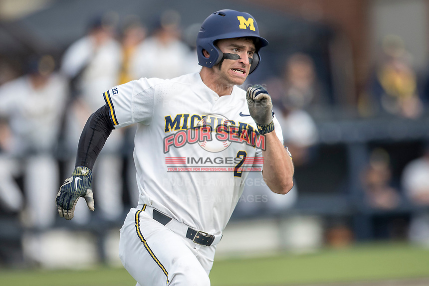 Michigan Wolverines outfielder Jonathan Engelmann (2) rounds first base against the Maryland Terrapins on April 13, 2018 in a Big Ten NCAA baseball game at Ray Fisher Stadium in Ann Arbor, Michigan. Michigan defeated Maryland 10-4. (Andrew Woolley/Four Seam Images)