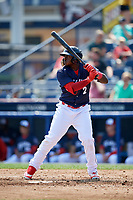 Reading Fightin Phils left fielder Cornelius Randolph (2) at bat during the first game of a doubleheader against the Portland Sea Dogs on May 15, 2018 at FirstEnergy Stadium in Reading, Pennsylvania.  Portland defeated Reading 8-4.  (Mike Janes/Four Seam Images)