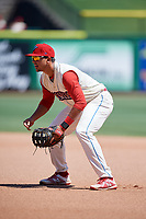 Clearwater Threshers first baseman Darick Hall (21) during a game against the Jupiter Hammerheads on April 11, 2018 at Spectrum Field in Clearwater, Florida.  Jupiter defeated Clearwater 6-4.  (Mike Janes/Four Seam Images)