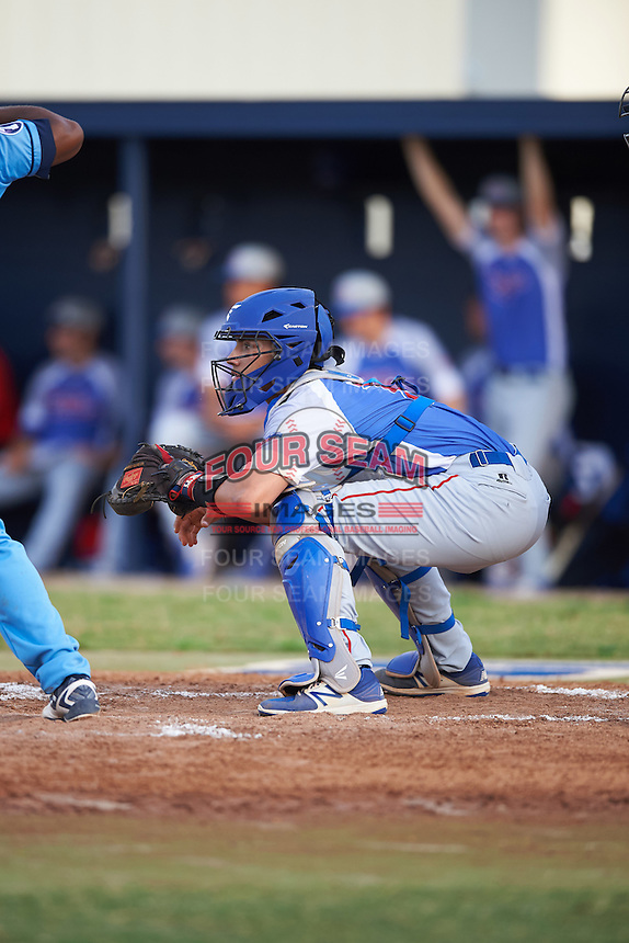 College of Central Florida Patriots catcher Matt Coello (7) during a game against the SCF Manatees on February 8, 2017 at Robert C. Wynn Field in Bradenton, Florida.  SCF defeated Central Florida 6-5 in eleven innings.  (Mike Janes/Four Seam Images)