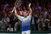 Februari 15, 2015, Netherlands, Rotterdam, Ahoy, ABN AMRO World Tennis Tournament, Final: winner Stanislas Wawrinka (SUI)<br /> Photo: Tennisimages/Henk Koster