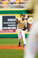 Shortstop Pat Blair #11 of the Wake Forest Demon Deacons makes a throw to first base against the LSU Tigers at Alex Box Stadium on February 20, 2011 in Baton Rouge, Louisiana.  The Tigers defeated the Demon Deacons 9-1.  Photo by Brian Westerholt / Four Seam Images
