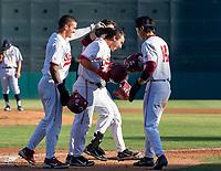 STANFORD, CA - JUNE 5: Brock Jones, Kody Huff, Eddie Park during a game between UC Irvine and Stanford Baseball at Sunken Diamond on June 5, 2021 in Stanford, California.