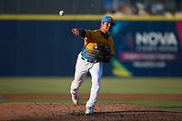 Rapidos de Kannapolis starting pitcher Jesus Valles (14) in action against the Guerreros de Fayetteville at Atrium Health Ballpark on June 24, 2021 in Kannapolis, North Carolina. (Brian Westerholt/Four Seam Images)