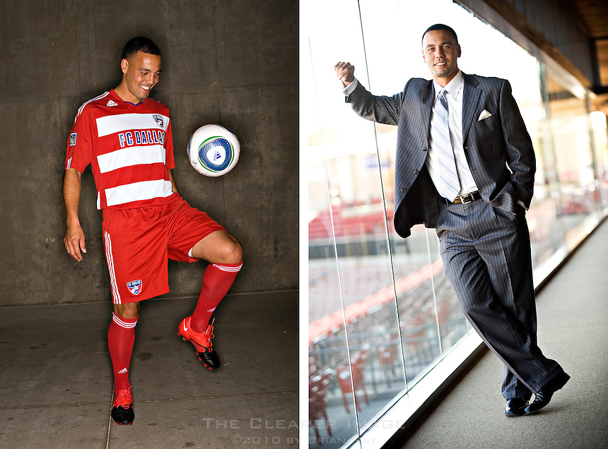 Portraits of FC Dallas professional MLS soccer team Captain and Midfielder Daniel Hernandez for Latino Leaders Magazine at Pizza Hut Park in Frisco, TX on Tuesday, October 12, 2010.