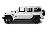 Car Driver side profile view of a 2021 JEEP Wrangler-Unlimited High-Altitude-4XE 5 Door SUV Side View