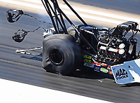 Sep 23, 2018; Madison, IL, USA; Detailed view of the distortion to the rear tires on the dragster of NHRA top fuel driver Steve Torrence during the Midwest Nationals at Gateway Motorsports Park. Mandatory Credit: Mark J. Rebilas-USA TODAY Sports