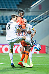 Adelaide United Midfielder Isaias Sanchez (L) fights for the ball with Jeju United Forward Frederic Mendy (R) during the AFC Champions League 2017 Group Stage - Group H match between Jeju United FC (KOR) vs Adelaide United (AUS) at the Jeju World Cup Stadium on 11 April 2017 in Jeju, South Korea. Photo by Marcio Rodrigo Machado / Power Sport Images