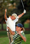 Owen Joyner celebrates after chipping in for a birdie on the 18th hole during the Men's City Amateur golf tournament at the Memorial Park Golf Club Sunday Oct. 05,2008. The birdie sealed his victory. (Dave Rossman/For the Chronicle)