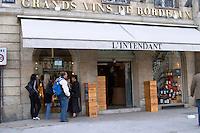 Wine shop. L'Intendant. Bordeaux city, Aquitaine, Gironde, France