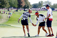 5th September 2021: Toledo, Ohio, USA;  Jessica Korda and Megan Khang of Team USA give each other a low five on the 13th hole during the afternoon Four-ball competition during the Solheim Cup on September 5, 2021 at Inverness Club in Toledo, Ohio. Europe retained the Solheim Cup with a hard-fought 15-13 victory over the United States