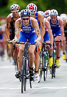 24 JUN 2012 - KITZBUEHEL, AUT - Stuart Hayes (GBR) of Great Britain leads the front pack during the elite men's 2012 World Triathlon Series round at Schwarzsee in Kitzbuehel, Austria .(PHOTO (C) 2012 NIGEL FARROW)