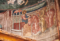 Pictures & images of the interior frescoes of Ubisa St. George Georgian Orthodox medieval monastery, Georgia (country)<br /> <br /> The 14th century lavish interior frescoes were painted by Gerasim in a local style known as Palaeologus  following Byzantine influences.