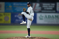 Hudson Valley Renegades starting pitcher Jhony Brito (34) in action against the Wilmington Blue Rocks at Dutchess Stadium on July 27, 2021 in Wappingers Falls, New York. (Brian Westerholt/Four Seam Images)