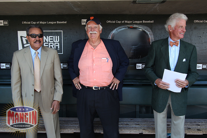 SAN FRANCISCO - JUNE 26:  Juan Marichal, Gaylord Perry and Managing General Partner Bill Neukom of the San Francisco Giants talk in the dugout before the game against the Boston Red Sox at AT&T Park on June 26, 2010 in San Francisco, California. Photo by Brad Mangin