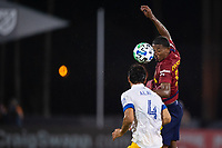 LAKE BUENA VISTA, FL - JULY 27: Douglas Martinez #12 of Real Salt Lake heads the ball during a game between San Jose Earthquakes and Real Salt Lake at ESPN Wide World of Sports on July 27, 2020 in Lake Buena Vista, Florida.