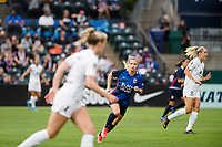 TACOMA, WA - JULY 31: Eugenie Le Sommer #9 of the OL Reign looks on during a game between Racing Louisville FC and OL Reign at Cheney Stadium on July 31, 2021 in Tacoma, Washington.