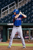 AZL Rangers right fielder Justin Jacobs (54) at bat against the AZL Indians on August 26, 2017 at Goodyear Ball Park in Goodyear, Arizona. AZL Indians defeated the AZL Rangers 5-3. (Zachary Lucy/Four Seam Images)