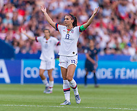 PARIS,  - JUNE 28: Alex Morgan #13 yells to the referee during a game between France and USWNT at Parc des Princes on June 28, 2019 in Paris, France.
