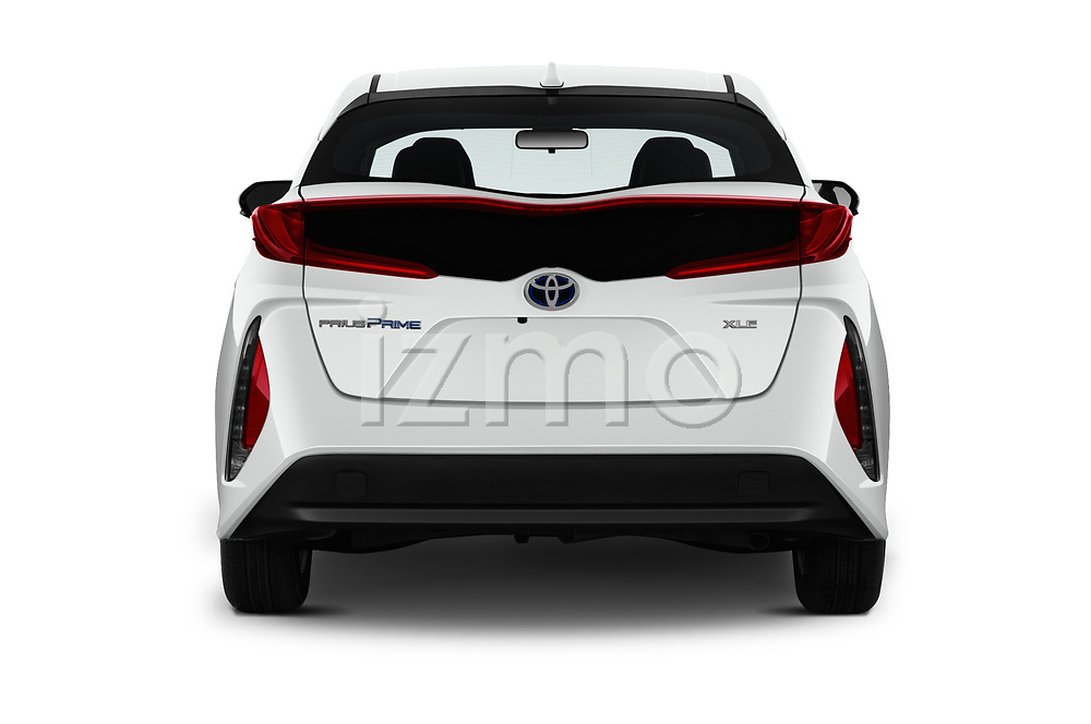 Straight rear view of a 2020 Toyota Prius-Prime XLE 5 Door Hatchback stock images