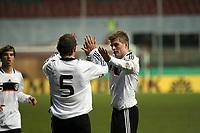 Torjubel Deutschland um Toni Kroos und Konstantin Rausch<br /> Deutschland vs. Finnland, U19-Junioren<br /> *** Local Caption *** Foto ist honorarpflichtig! zzgl. gesetzl. MwSt. Auf Anfrage in hoeherer Qualitaet/Aufloesung. Belegexemplar an: Marc Schueler, Am Ziegelfalltor 4, 64625 Bensheim, Tel. +49 (0) 151 11 65 49 88, www.gameday-mediaservices.de. Email: marc.schueler@gameday-mediaservices.de, Bankverbindung: Volksbank Bergstrasse, Kto.: 151297, BLZ: 50960101
