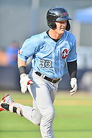Hickory Crawdads Kellen Strahm (33) runs to first base during a game against the Asheville Tourists on July 21, 2021 at McCormick Field in Asheville, NC. (Tony Farlow/Four Seam Images)