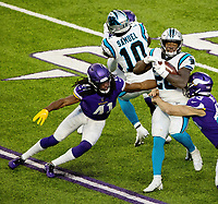 Photography of the Carolina Panthers v. The Minnesota Vikings, during their Sunday afternoon NFL game at U.S. Bank Stadium in Minneapolis, MN.<br /> <br /> Charlotte Photographer - PatrickSchneiderPhoto.com