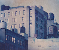 AVAILABLE FROM JEFF AS A FINE ART PRINT.<br /> <br /> AVAILABLE FROM JEFF FOR COMMERCIAL AND EDITORIAL LICENSING.<br /> <br /> Polaroid Transfer - Upward View of Buildings and Water Towers Viewed from Houston Street, Lower Manhattan, New York City, New York State, USA
