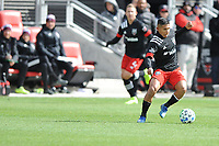 WASHINTON, DC - FEBRUARY 29: Washington, D.C. - February 29, 2020: Edison Flores #10 of D.C. United moves the ball during a game between D.C. United and the Colorado Rapids. The Colorado Rapids defeated D.C. United 2-1 during their Major League Soccer (MLS)  match at Audi Field during a game between Colorado Rapids and D.C. United at Audi FIeld on February 29, 2020 in Washinton, DC.