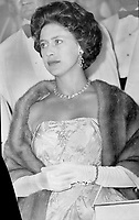 Visite de la Princesse Margaret, 1958<br /> <br /> She wore a full-length evening gown of rose silk-taffeta with a large sparkling diamond brooch and a mutation mink stole. Most of the women in the audience; thinking the Princess would wear a shorter gown; turned up in cocktail dresses. The Princess appeared to enjoy the performance of The Winter's Tale and went backstage following show for the performers. 1958<br /> <br /> PHOTO :  Norman JAMES - Toronto Star Archives - AQP