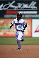 Inland Empire 66ers designated hitter Jared Walsh (21) rounds the bases after hitting his first home run of the afternoon during a California League game against the Lancaster JetHawks at San Manuel Stadium on May 20, 2018 in San Bernardino, California. Inland Empire defeated Lancaster 12-2. (Zachary Lucy/Four Seam Images)