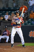 Aberdeen Ironbirds second baseman Drew Turbin (32) at bat during a game against the Tri-City ValleyCats on August 6, 2015 at Ripken Stadium in Aberdeen, Maryland.  Tri-City defeated Aberdeen 5-0 in a combined no-hitter.  (Mike Janes/Four Seam Images)