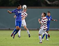 STANFORD, CA - September 12, 2012: Stanford midfielder Ty Thompson (7) during the Stanford vs San Jose St. men's soccer match in Stanford, California. Final score, Stanford 2, San Jose St. 1 in overtime.