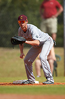 Central Michigan Chippewas first baseman Alex Borglin (6) during a game against the Boston College Eagles on March 8, 2016 at North Charlotte Regional Park in Port Charlotte, Florida.  Boston College defeated Central Michigan 9-3.  (Mike Janes/Four Seam Images)
