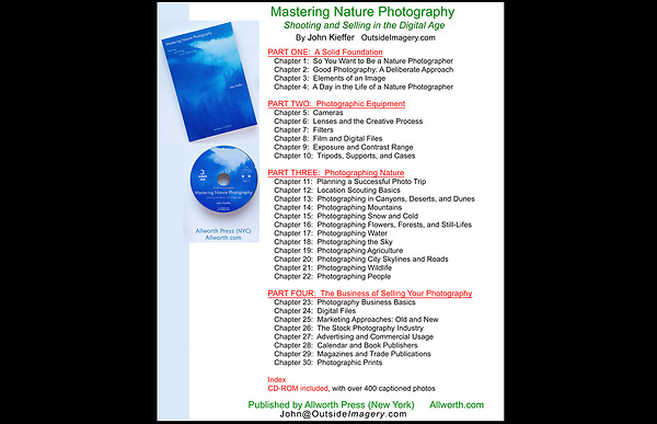 "Table of Contents for ""Mastering Nature Photography: Shooting and Selling in the Digital Age."" by John Kieffer.<br />