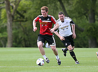 Pictured: Gareth Vincent (R). Tuesday 06 May 2014<br /> Re: Members of the local press play football against Swansea City FC coaches and members of staff at the Club's training ground in Fairwood, south Wales.