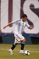 Argentina forward Sergio Aguero (11). The men's national teams of the United States and Argentina played to a 0-0 tie during an international friendly at Giants Stadium in East Rutherford, NJ, on June 8, 2008.