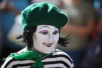 Pictured: Saturday 17 September 2016<br /> Re: Roald Dahl's City of the Unexpected has transformed Cardiff City Centre into a landmark celebration of Wales' foremost storyteller, Roald Dahl, in the year which celebrates his centenary.<br /> A spectator who came to the event and got into the swing of things with a colorful look.