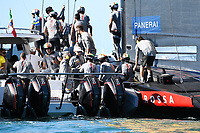 13th March 2021; Waitemata Harbour, Auckland, New Zealand;  Luna Rossa Prada Pirelli after Race 5, Day 3 of the America's Cup presented by Prada. Auckland, New Zealand, Saturday the 13th of March 2021.