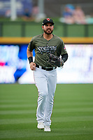 Nashville Sounds left fielder Renato Nunez (34) jogs back to the dugout during a game against the New Orleans Baby Cakes on April 30, 2017 at First Tennessee Park in Nashville, Tennessee.  The game was postponed due to inclement weather in the fourth inning.  (Mike Janes/Four Seam Images)