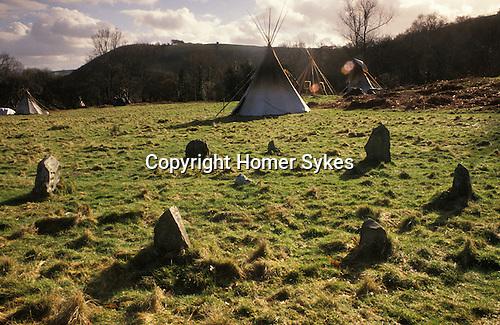 TeePee Valley near LLandeilo Wales UK. Hippy alternative Life style. Modern Stone Circle.