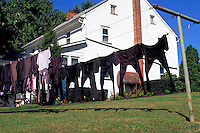 Traditional Amish clothing hanging out to dry. Strasburg Pennsylvania USA Lancaster County.