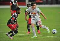 WASHINGTON, DC - SEPTEMBER 12: Brian White #42 of New York Red Bulls battles for the ball with Oniel Fisher #91 of D.C. United during a game between New York Red Bulls and D.C. United at Audi Field on September 12, 2020 in Washington, DC.