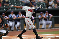 Right fielder Justin Ellison (5) of the Rome Braves bats in a game against the Columbia Fireflies on Monday, July 3, 2017, at Spirit Communications Park in Columbia, South Carolina. Columbia won, 1-0. (Tom Priddy/Four Seam Images)