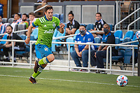 SAN JOSE, CA - MAY 12: Kelyn Rowe #22 of the Seattle Sounders chases the ball during a game between San Jose Earthquakes and Seattle Sounders FC at PayPal Park on May 12, 2021 in San Jose, California.